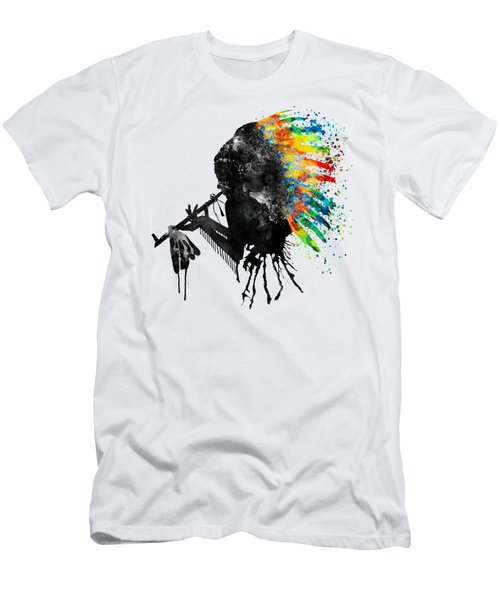 Indian Silhouette With Colorful Headdress Men's T-Shirt (Athletic Fit)