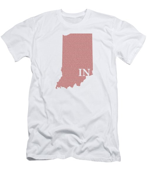 Indiana State Map With Text Of Constitution Men's T-Shirt (Athletic Fit)