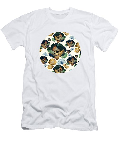 Indigo Flowers And Peacocks Men's T-Shirt (Athletic Fit)