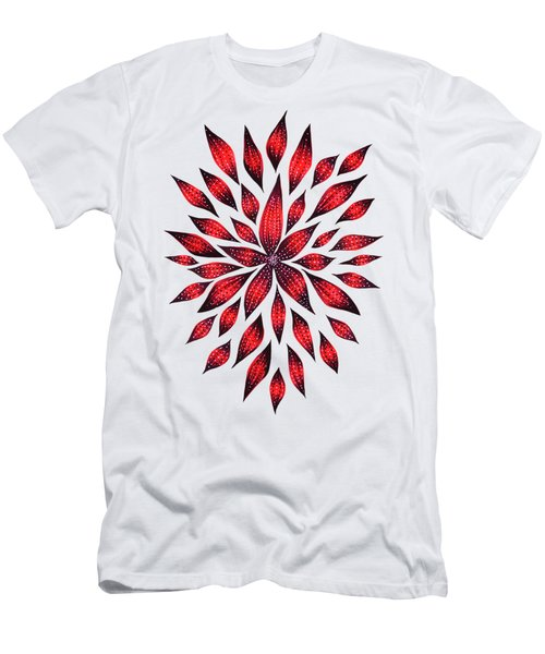 Ink Drawn Abstract Red Doodle Flower Men's T-Shirt (Athletic Fit)
