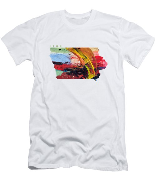 Iowa Map Art - Painted Map Of Iowa Men's T-Shirt (Athletic Fit)