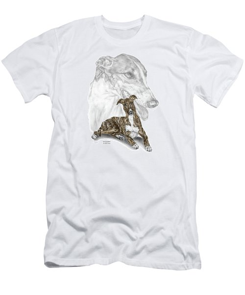 Men's T-Shirt (Slim Fit) featuring the drawing Irresistible - Greyhound Dog Print Color Tinted by Kelli Swan