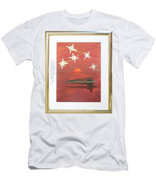 Men's T-Shirt (Slim Fit) featuring the painting Island In The Sky With Diamonds by Ron Davidson