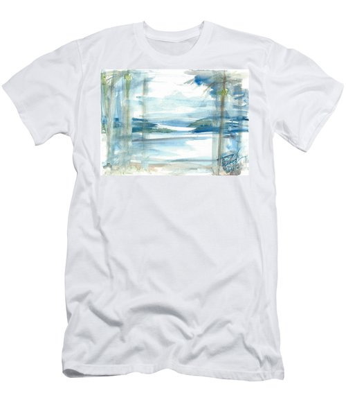 Men's T-Shirt (Athletic Fit) featuring the painting Island Paradise by Reed Novotny