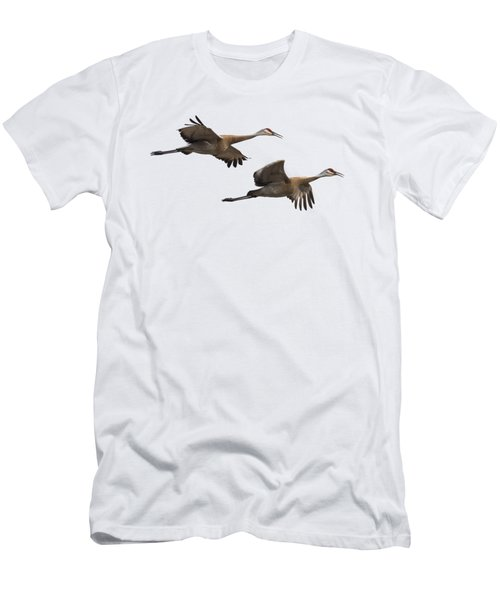 Men's T-Shirt (Slim Fit) featuring the photograph Isolated Sandhill Cranes 2016-1 by Thomas Young