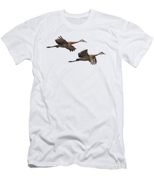 Isolated Sandhill Cranes 2016-1 Men's T-Shirt (Slim Fit)
