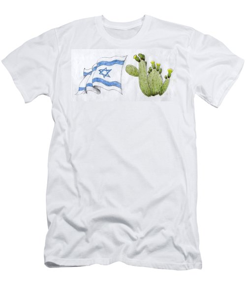 Men's T-Shirt (Slim Fit) featuring the drawing Israel by Annemeet Hasidi- van der Leij