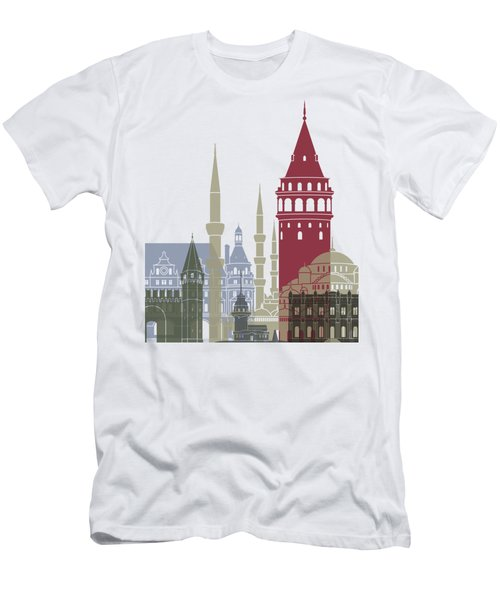 Istanbul Skyline Poster Men's T-Shirt (Slim Fit) by Pablo Romero