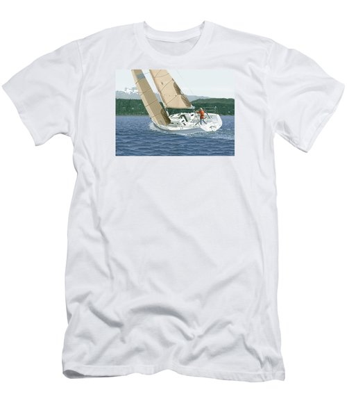 J-109 Sailboat Off Comox B.c. Men's T-Shirt (Slim Fit) by Gary Giacomelli