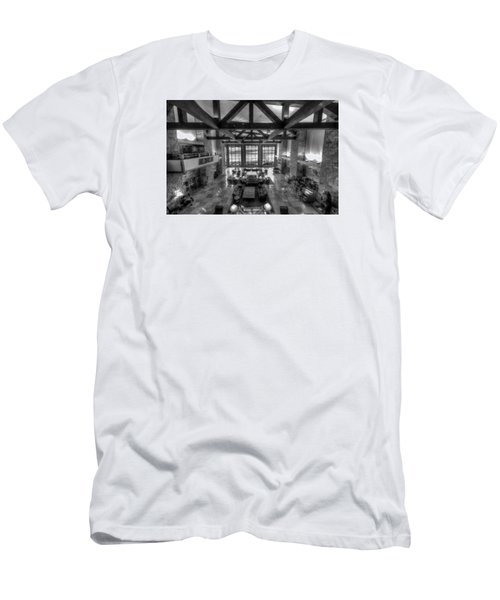 Jackson Lake Lodge Grand Tetons B W Men's T-Shirt (Athletic Fit)