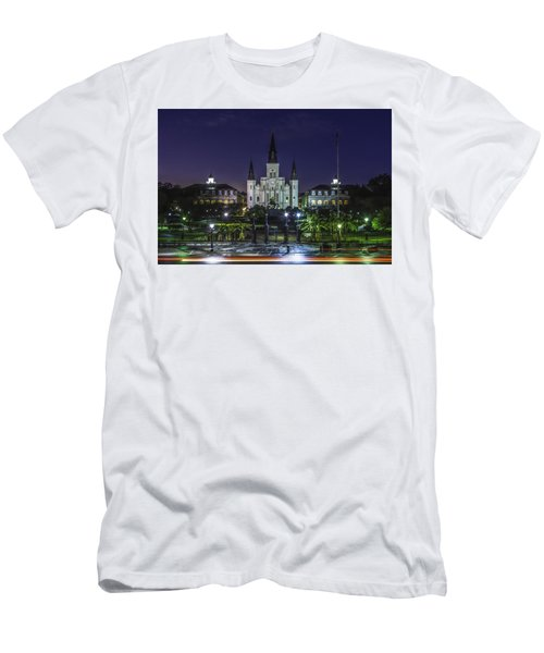 Jackson Square And St. Louis Cathedral At Dawn, New Orleans, Louisiana Men's T-Shirt (Athletic Fit)