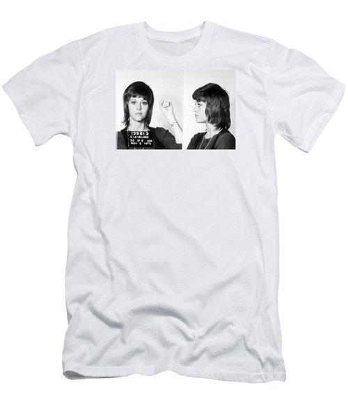 Jane Fonda Mug Shot Horizontal Men's T-Shirt (Slim Fit) by Tony Rubino