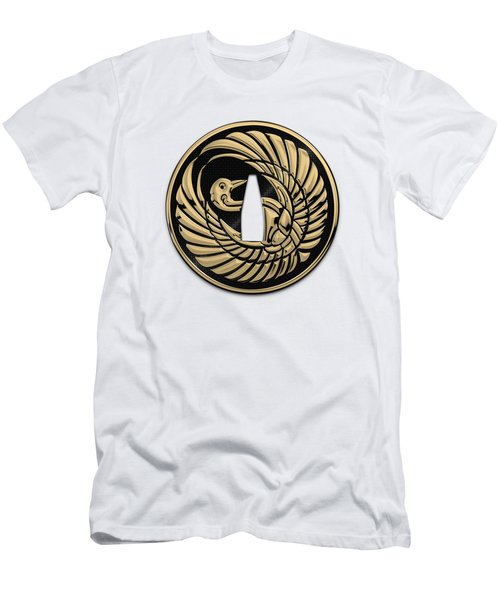 Japanese Katana Tsuba - Golden Crane On Black Steel Over White Leather Men's T-Shirt (Athletic Fit)