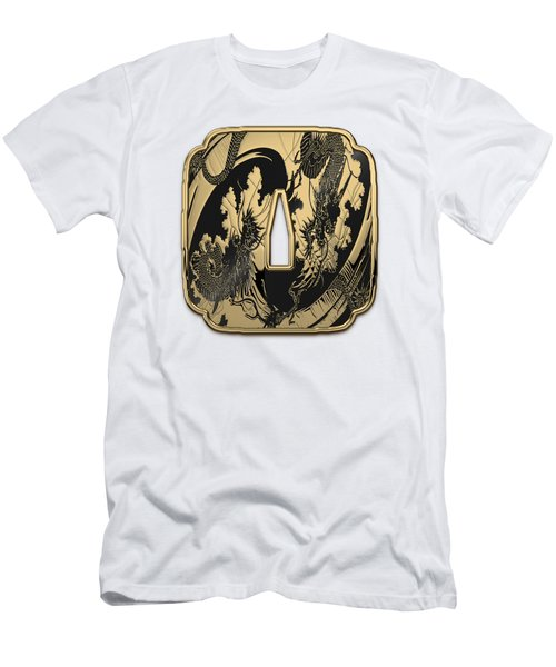 Japanese Katana Tsuba - Golden Twin Dragons On Black Steel Over White Leather Men's T-Shirt (Athletic Fit)
