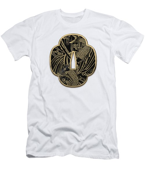 Japanese Katana Tsuba - Golden Twin Koi On Black Steel Over White Leather Men's T-Shirt (Slim Fit)
