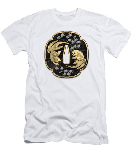 Japanese Katana Tsuba - Twin Gold Fish On Black Steel Over White Leather Men's T-Shirt (Athletic Fit)
