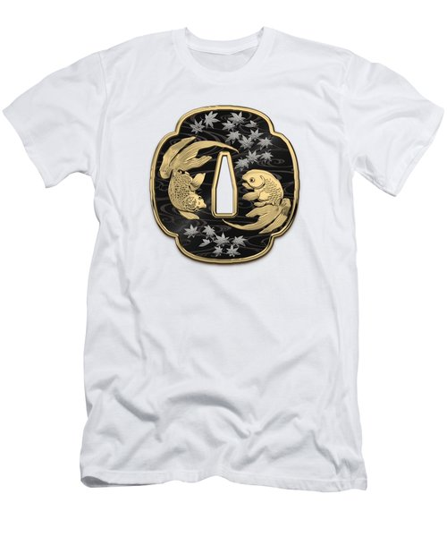 Japanese Katana Tsuba - Twin Gold Fish On Black Steel Over White Leather Men's T-Shirt (Slim Fit)