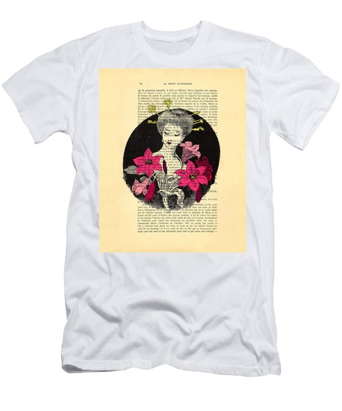Japanese Lady With Cherry Blossoms Men's T-Shirt (Athletic Fit)