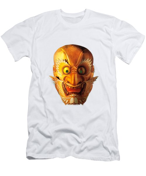 Japanese Mask Cutout Men's T-Shirt (Slim Fit) by Linda Phelps