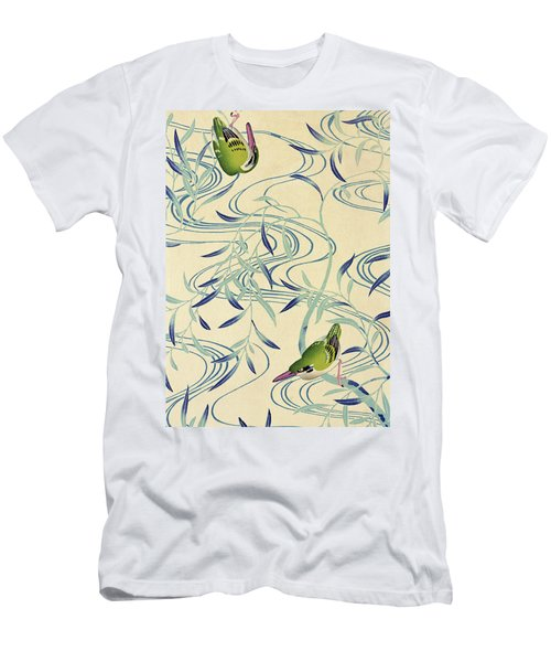 Japanese Style River And Nightingale Modern Interior Art Painting. Men's T-Shirt (Athletic Fit)