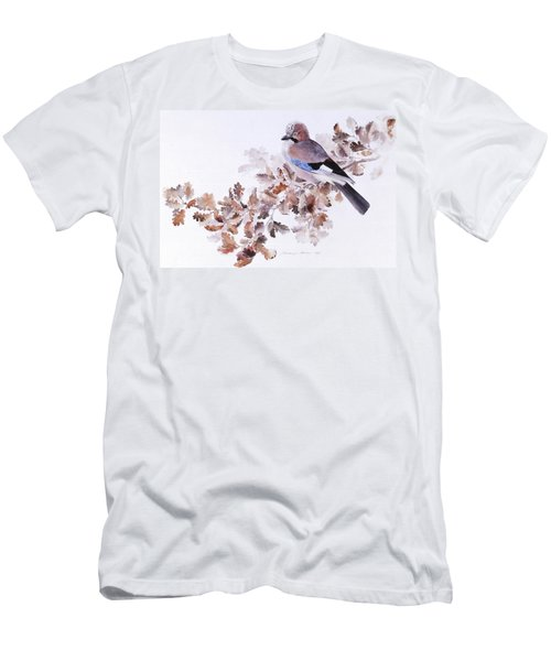 Jay On A Dried Oak Branch Men's T-Shirt (Athletic Fit)
