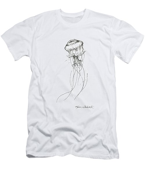 Jellyfish Sketch - Black And White Nautical Theme Decor Men's T-Shirt (Athletic Fit)