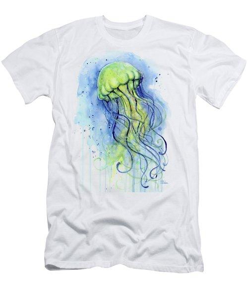Jellyfish Watercolor Men's T-Shirt (Athletic Fit)