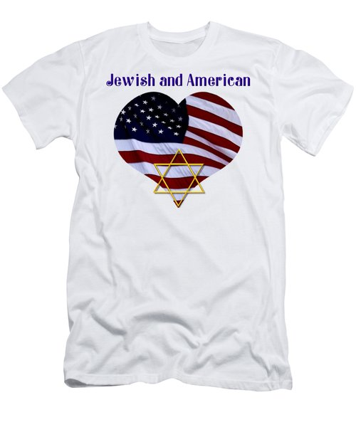 Jewish And American Flag With Star Of David Men's T-Shirt (Athletic Fit)