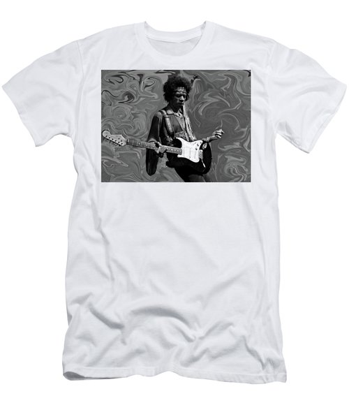 Men's T-Shirt (Slim Fit) featuring the photograph Jimi Hendrix Purple Haze B W by David Dehner