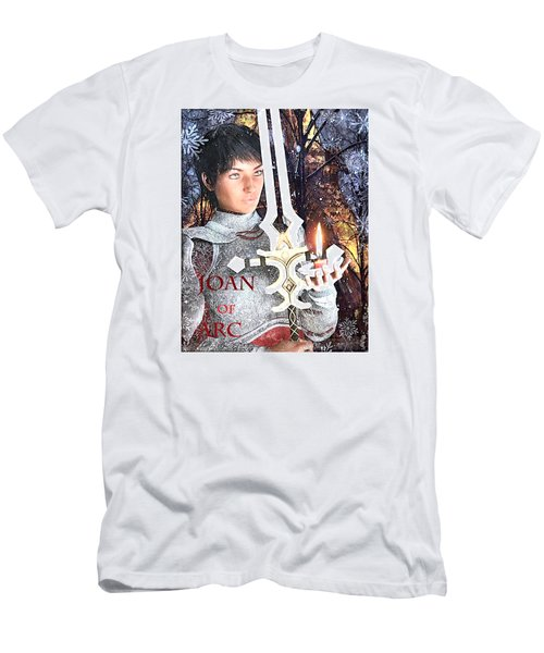 Men's T-Shirt (Slim Fit) featuring the painting Joan Of Arc Poster 2 by Suzanne Silvir