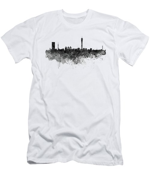 Johannesburg Black And White Skyline Men's T-Shirt (Athletic Fit)