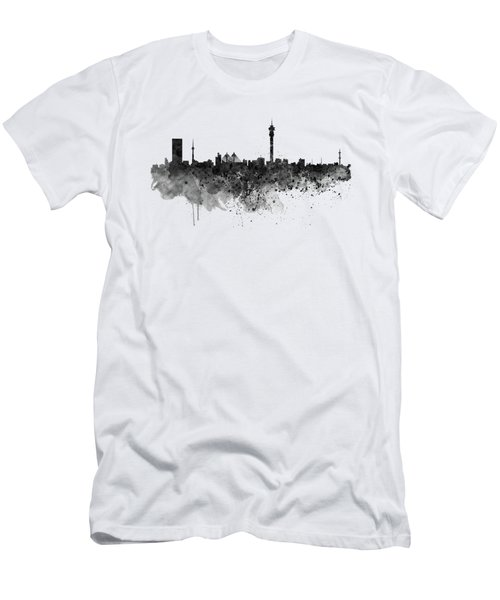 Johannesburg Black And White Skyline Men's T-Shirt (Athletic Fit)