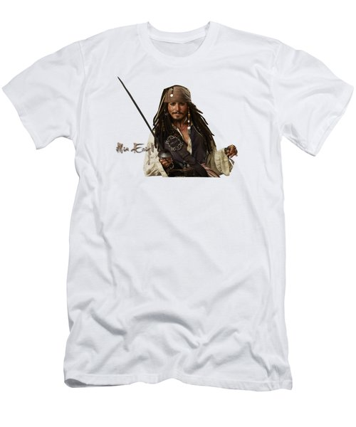 Johnny Depp, Pirates Of The Caribbean Men's T-Shirt (Slim Fit) by Maria Astedt