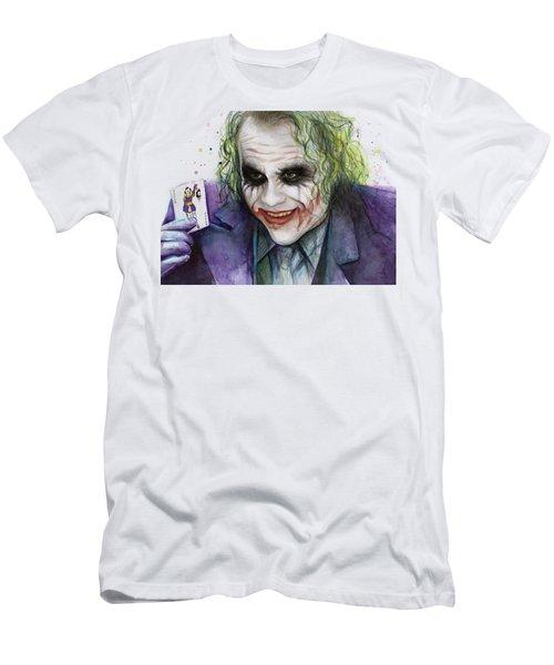 Joker Watercolor Portrait Men's T-Shirt (Slim Fit) by Olga Shvartsur
