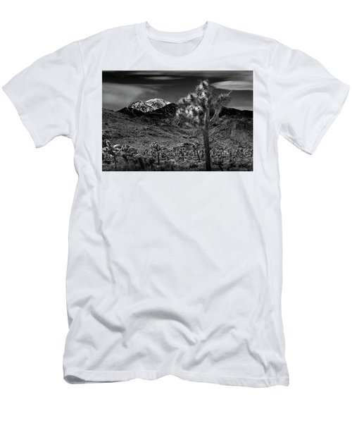 Men's T-Shirt (Slim Fit) featuring the photograph Joshua Tree In Black And White In Joshua Park National Park With The Little San Bernardino Mountains by Randall Nyhof