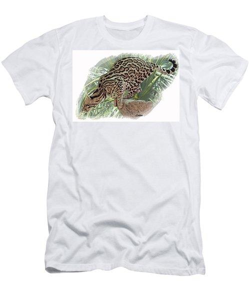 Pouncing Ocelot Men's T-Shirt (Athletic Fit)