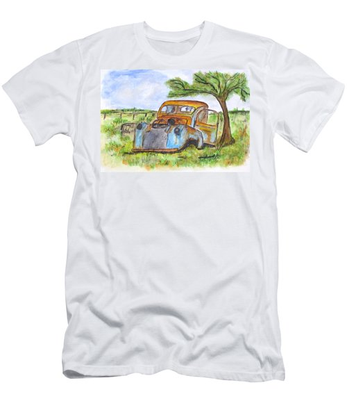Junk Car And Tree Men's T-Shirt (Slim Fit) by Clyde J Kell