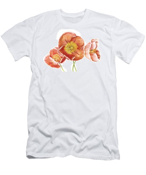 Just Peachy Poppies Men's T-Shirt (Slim Fit) by David and Carol Kelly