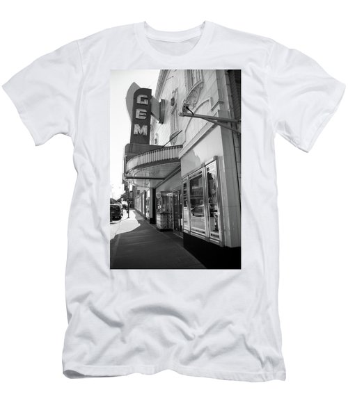 Men's T-Shirt (Slim Fit) featuring the photograph Kansas City - Gem Theater 2 Bw  by Frank Romeo