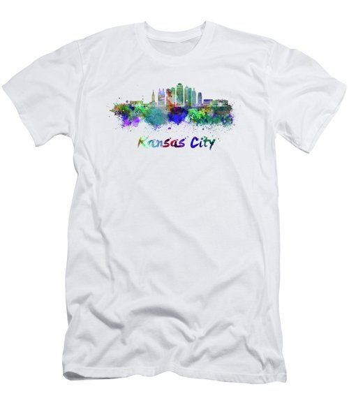 Kansas City V2  Skyline In Watercolor Men's T-Shirt (Athletic Fit)