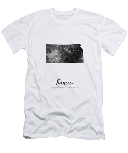 Kansas State Map Art - Grunge Silhouette Men's T-Shirt (Athletic Fit)