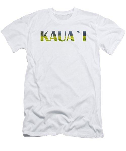 Kauai Letter Art Men's T-Shirt (Slim Fit) by Saya Studios