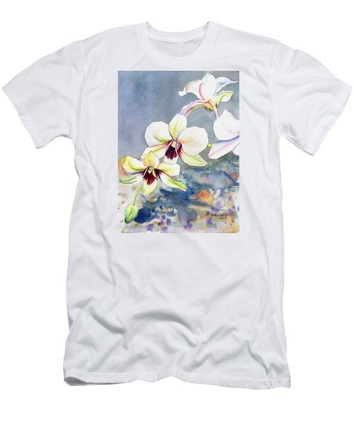 Men's T-Shirt (Slim Fit) featuring the painting Kauai Orchid Festival by Marionette Taboniar