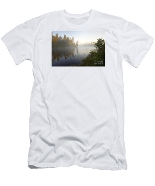 Men's T-Shirt (Slim Fit) featuring the photograph Kawishiwi Morning Fog by Larry Ricker