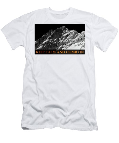 Keep Calm And Climb On Men's T-Shirt (Slim Fit) by Frank Tschakert