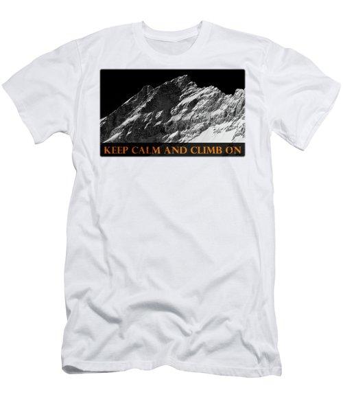 Keep Calm And Climb On Men's T-Shirt (Slim Fit) by Frank Tschakert