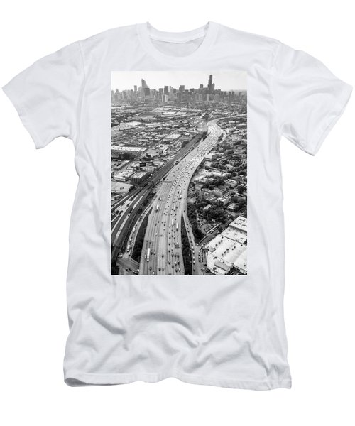 Men's T-Shirt (Athletic Fit) featuring the photograph Kennedy Expressway And Chicago Skyline by Adam Romanowicz