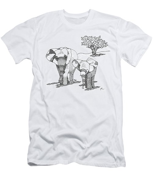 Men's T-Shirt (Athletic Fit) featuring the drawing Kenyan Walk by Jan Steinle