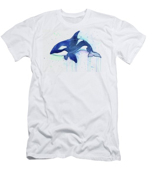 Kiler Whale Watercolor Orca  Men's T-Shirt (Athletic Fit)