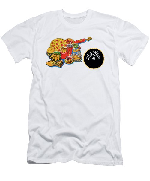 Men's T-Shirt (Athletic Fit) featuring the drawing Kitchen Illustration Of Menu Of Fast Food  by Ariadna De Raadt